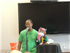 Tyrone with brightly colored puppet