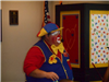 Clown in front of crowd