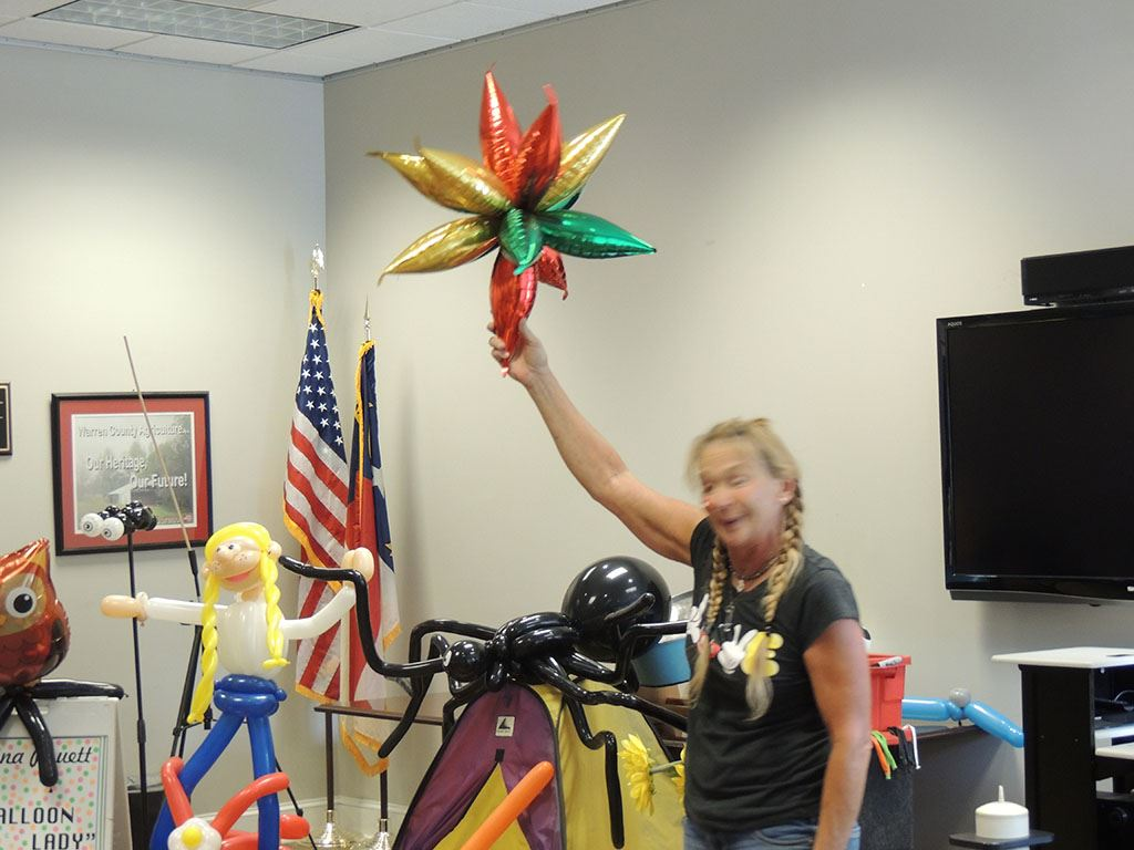 Donna Pruett shows off the Star Balloon