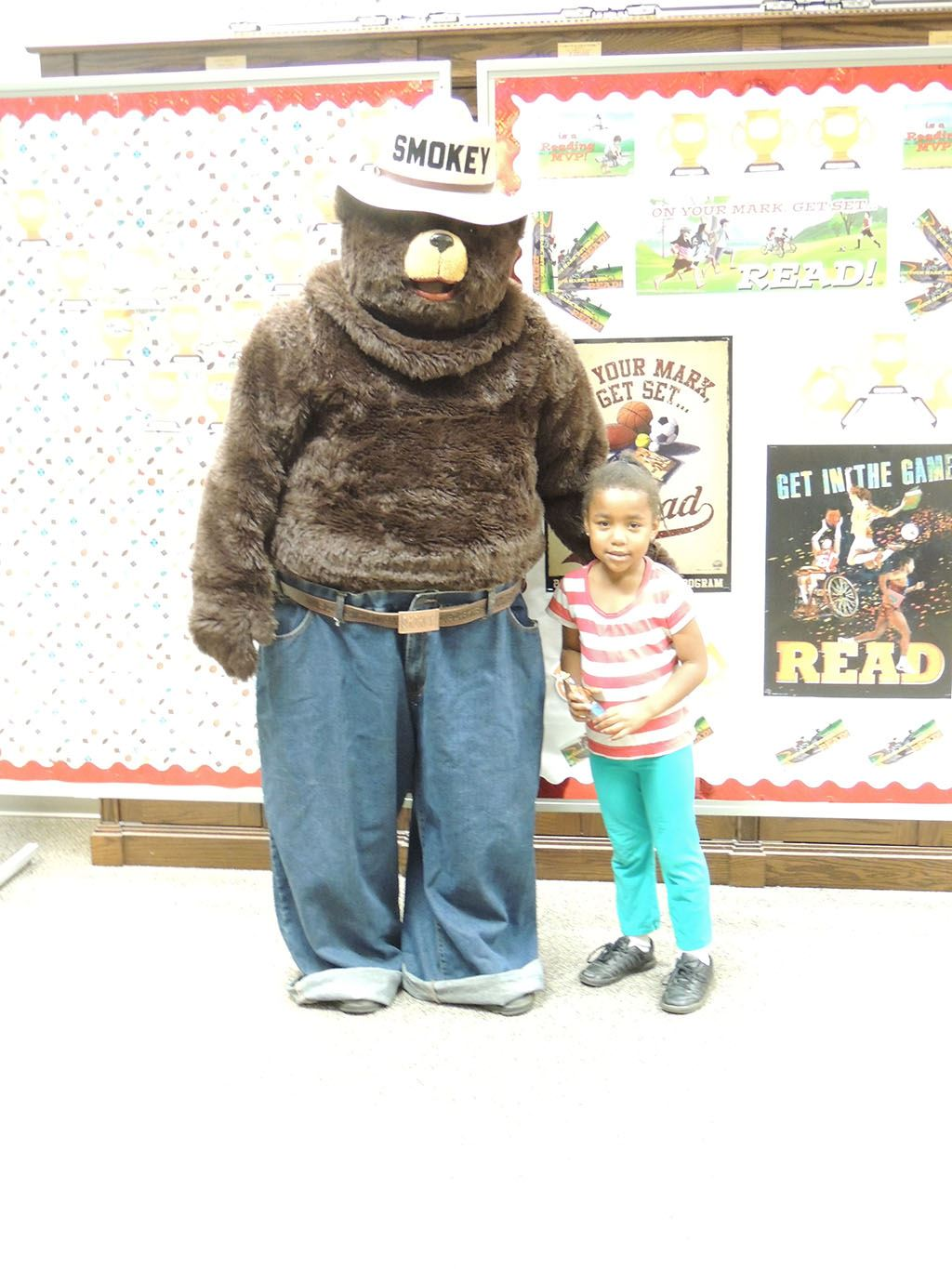 Smokey the Bear with girl