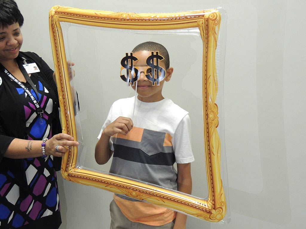 Boy in frames with silly glasses