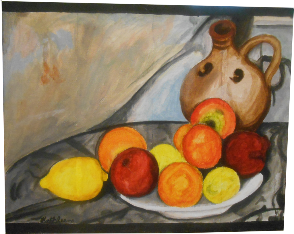 Artwork of brightly colored fruit