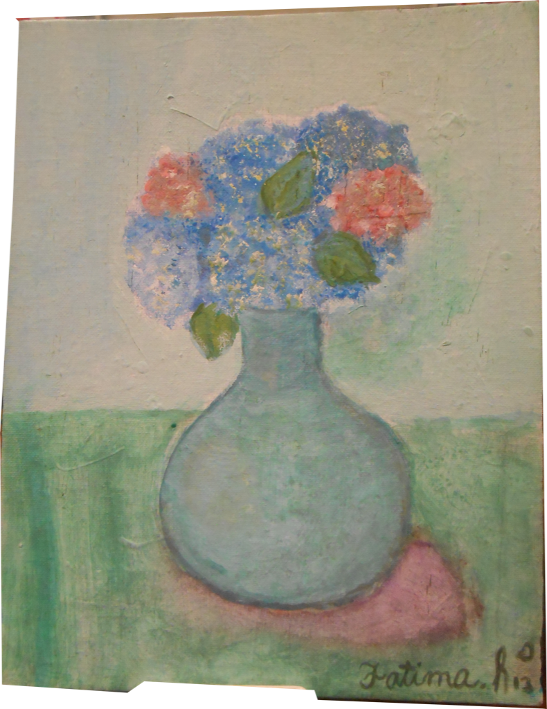 Artwork of flowers in vase on surface