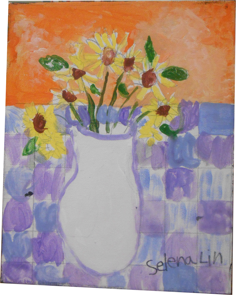 Artwork of flowers in vase