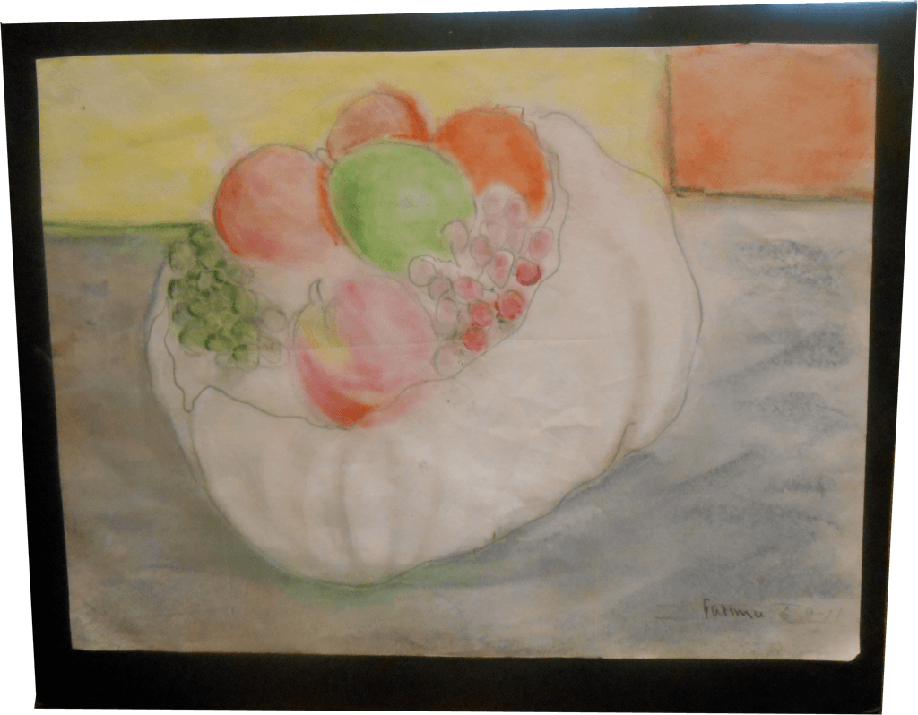 Artwork of fruit in bowl