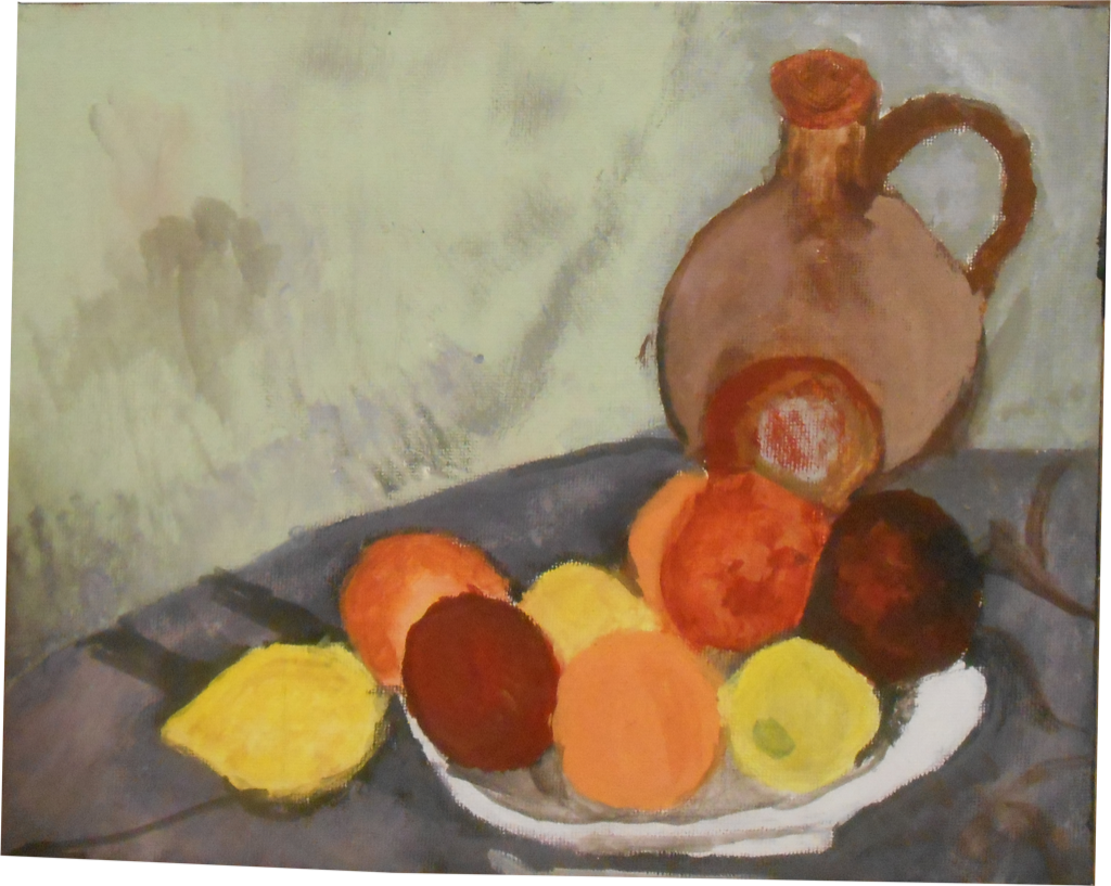Artwork of fruit on plate with jug