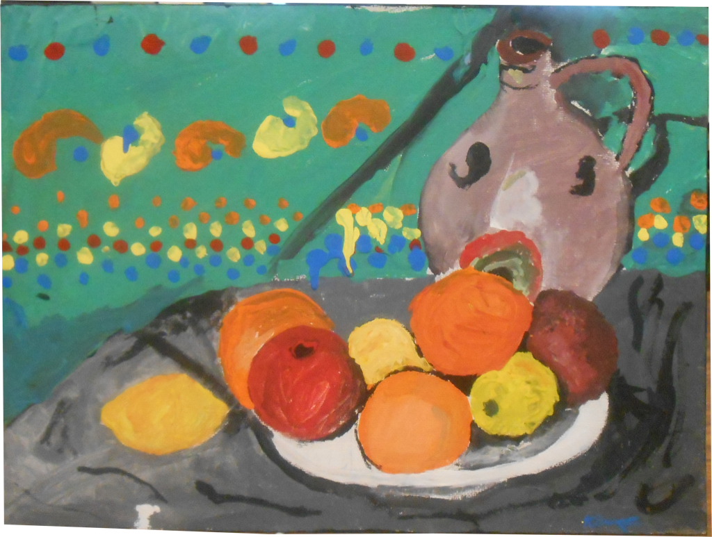 Artwork of fruit on plate