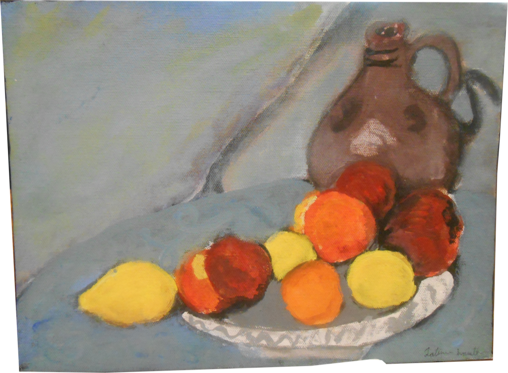 Artwork of fruit with jug
