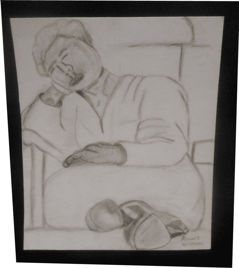 Artwork of reclining man