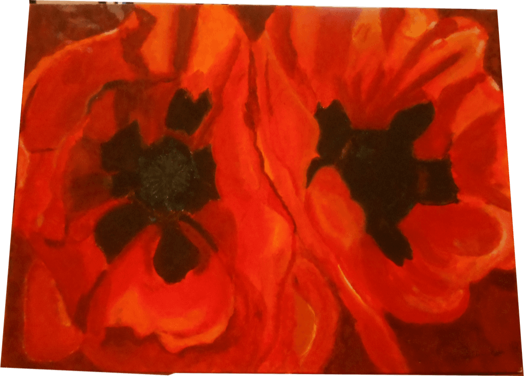 Artwork of red flowers