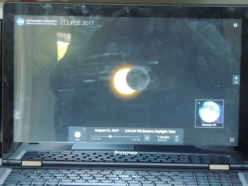 Eclipse progression on a computer screen