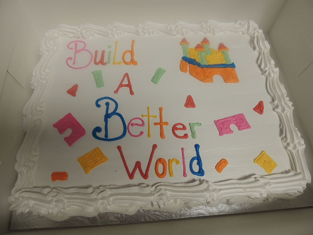 Build a Better World decorated cake