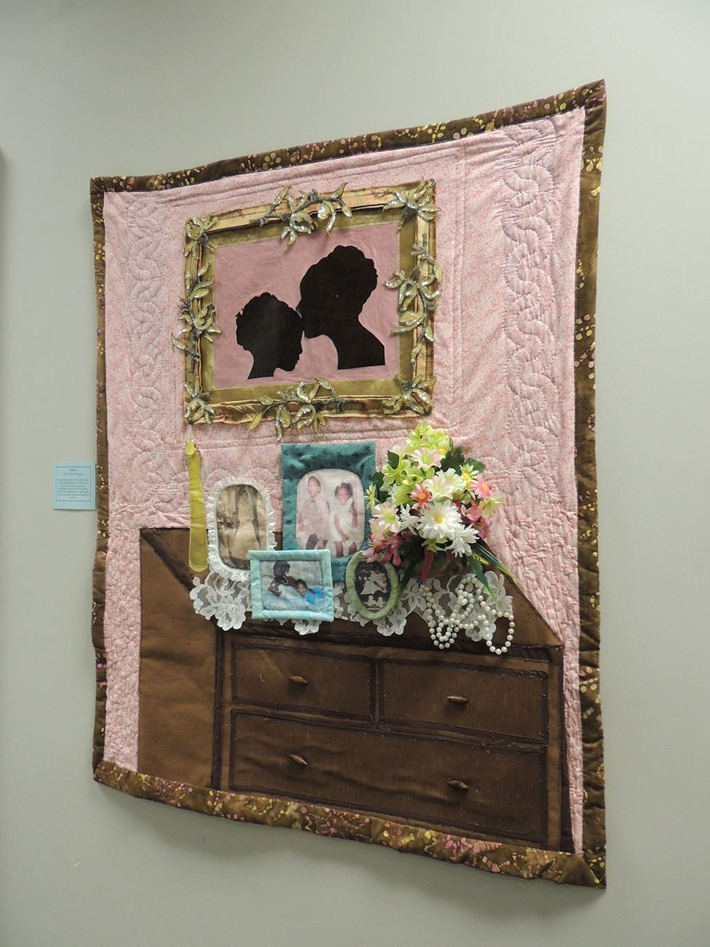 Quilt showing framed images
