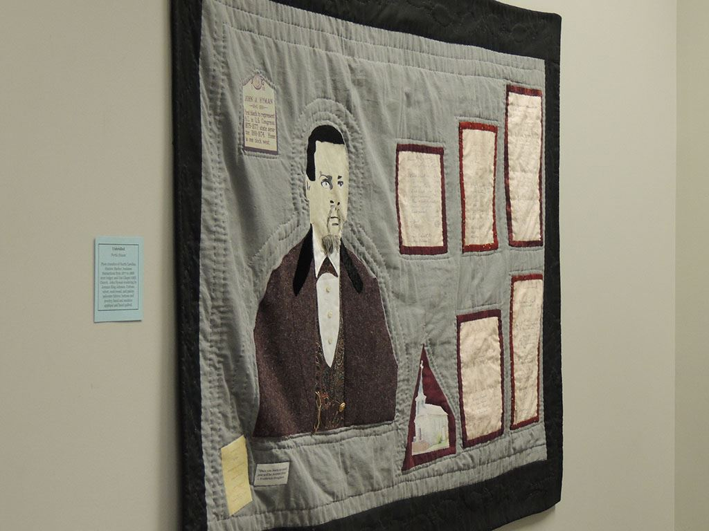 Quilt showing man