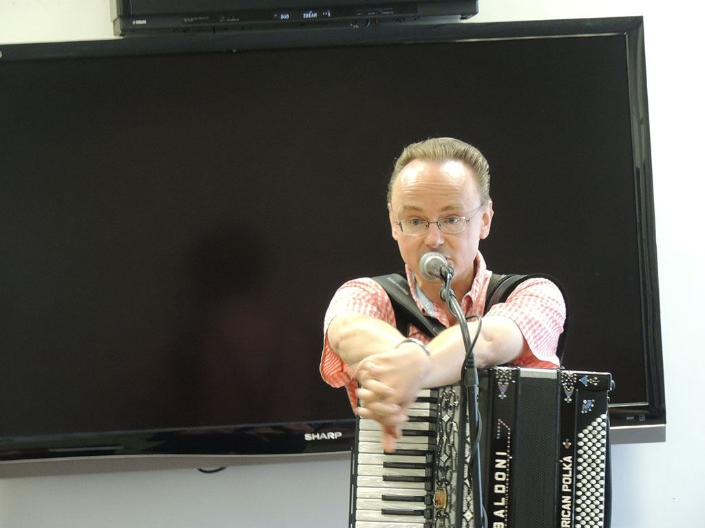Polka man holding accordion 3