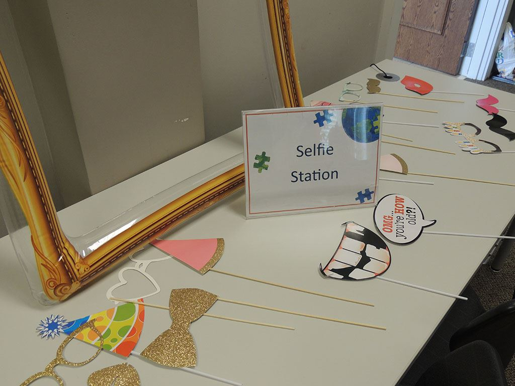Selfie Station table set with props