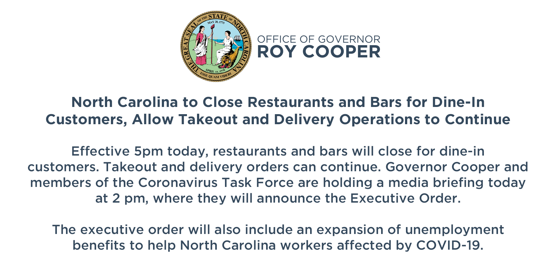 Executive order for dine-in customers and changes to unemployment
