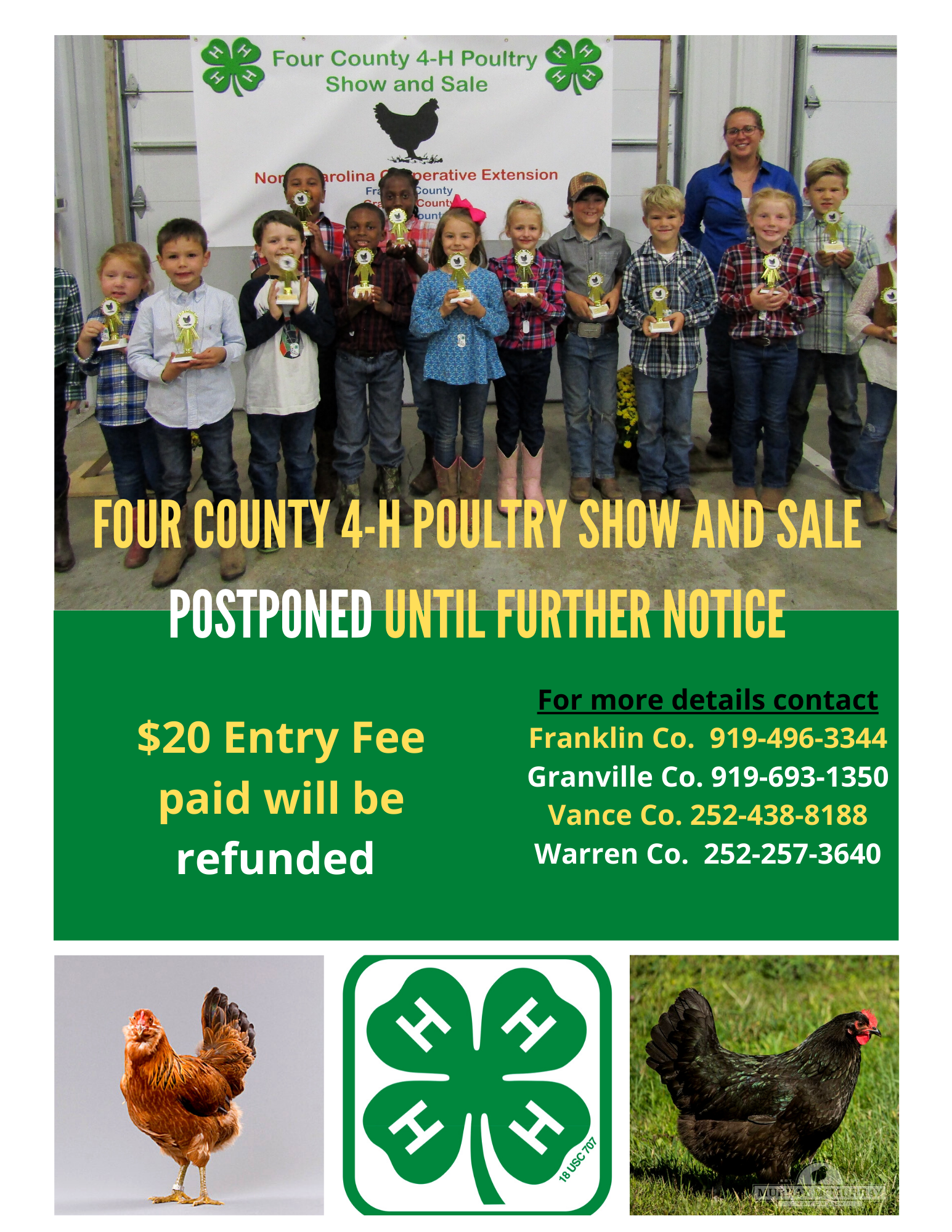 2020 Four County 4-H poultry show and sale postponed