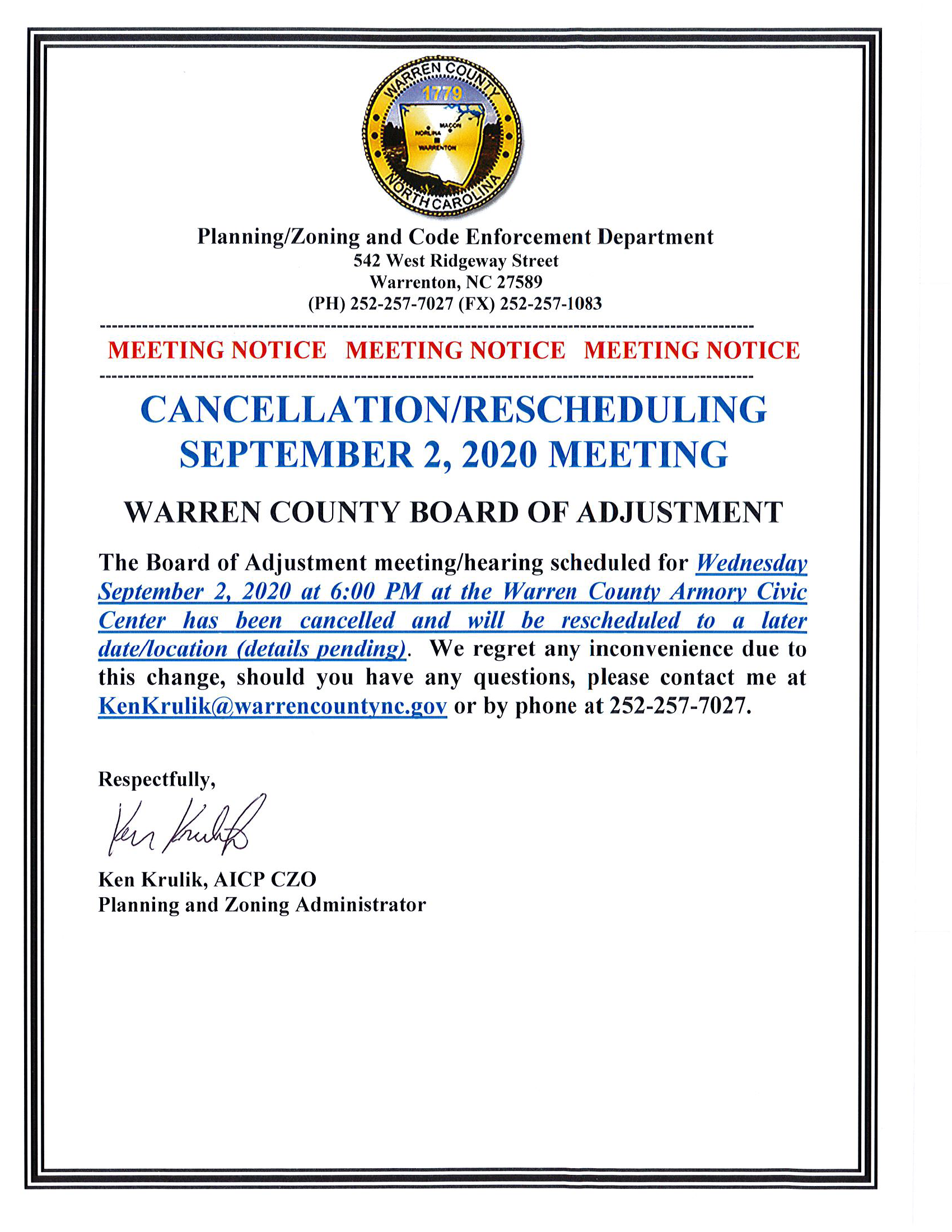 9-2-20 Meeting Cancellation